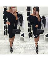 Женское стильное облегающее платье с оборкой , фото 1