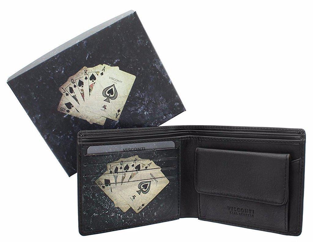 Мужской кошелек Visconti PKR-40 Black Poker кожаный черный