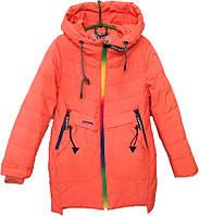 """Куртка подростковая демисезонная """"Радуга"""" #1721 для девочек. 8-9-10-11-12 лет. Коралловая. Оптом., фото 1"""