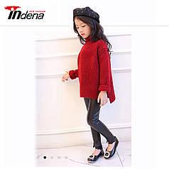 Детские стильные кожаные лосины с кружевами  Арт.CZ902