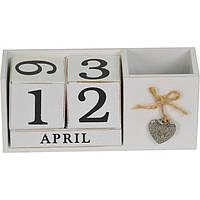 """Вечный календарь с подставкой для ручек белый """" кубики """"PR365  9*21*16 см"""