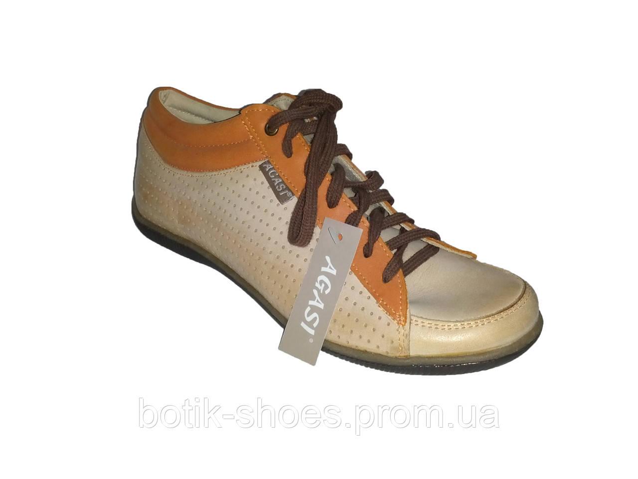 971f18136 Кожаные польские женские бежевые стильные модные спортивные туфли 36 Agasi  - интернет-магазин обуви