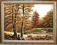 """Картина из янтаря """"Лесное озеро"""" хороший подарок"""