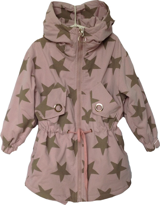 """Куртка-ветровка детская демисезонная """"Звезды"""" #8-2 для девочек. 6-8-10-12 лет. Грязно-розовая. Оптом."""