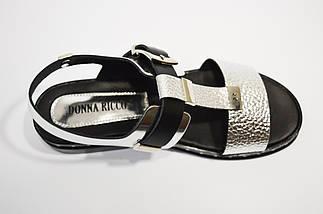Серебристые кожаные босоножки Donna Ricco 7511, фото 2