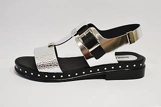 Серебристые кожаные босоножки Donna Ricco 7511, фото 3