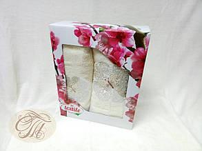 Набір махрових рушників 2 шт Метелик на молочному