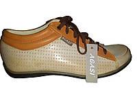Кожаные польские женские бежевые стильные модные спортивные туфли 37 Agasi