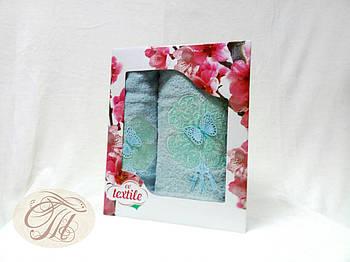 Набір махрових рушників 2 шт Метелик на блакитному