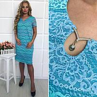 Нарядное весеннее платье большого размера из гипюра 88105 (бат)