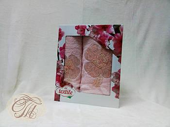 Набір махрових рушників 2 шт Метелик на блідо-рожевому