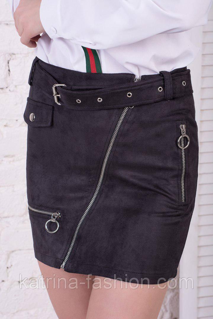 Женская модная черная замшевая юбка с молниями и ремнем