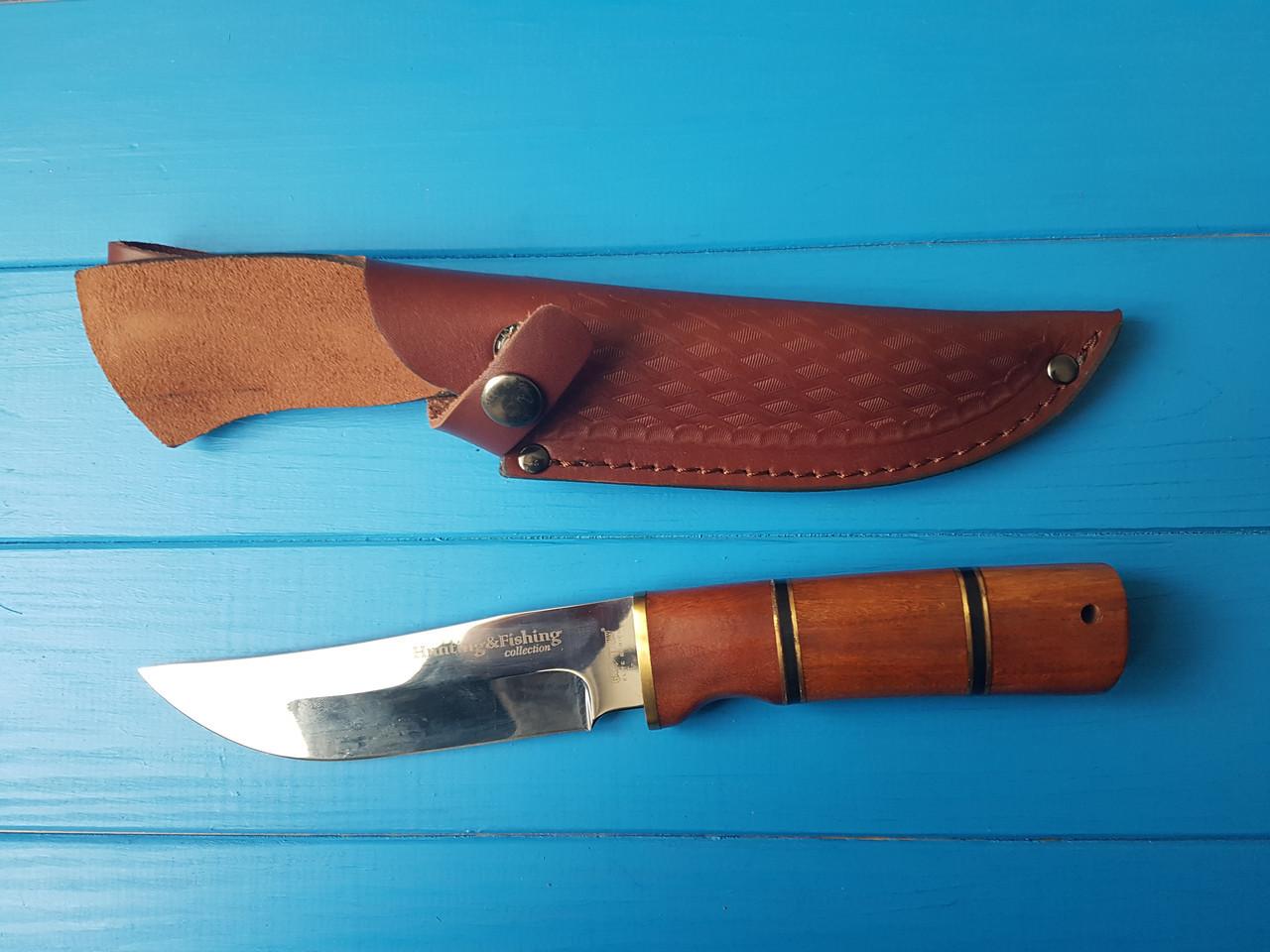 Ніж мисливський і рибальський, рукоять червоне дерево, шкіряний чохол в комплекті