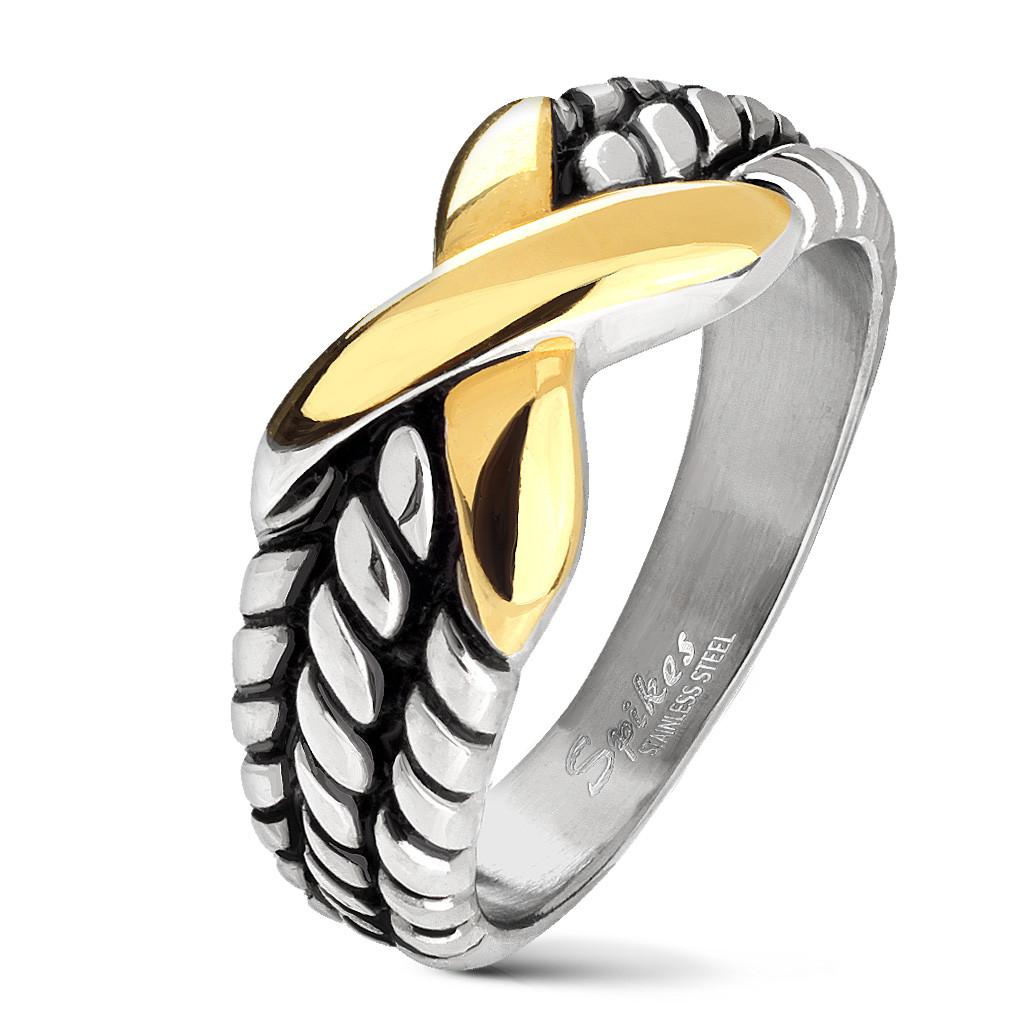 Байкерское кольцо с золотым крестом Spikes 20,75