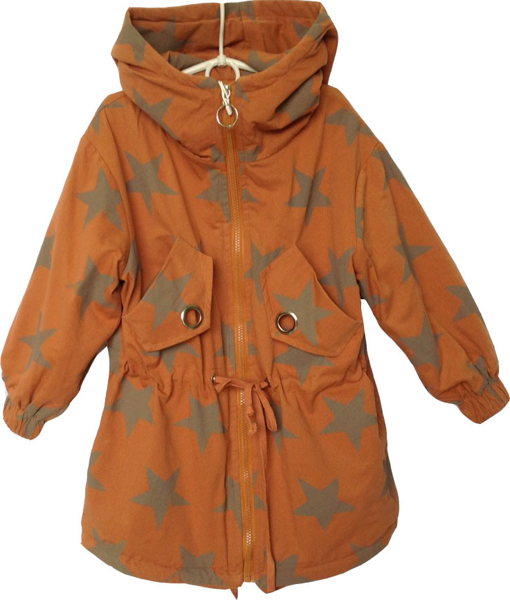 """Куртка-ветровка детская демисезонная """"Звезды"""" #8-2 для девочек. 6-8-10-12 лет. Кирпичная. Оптом."""