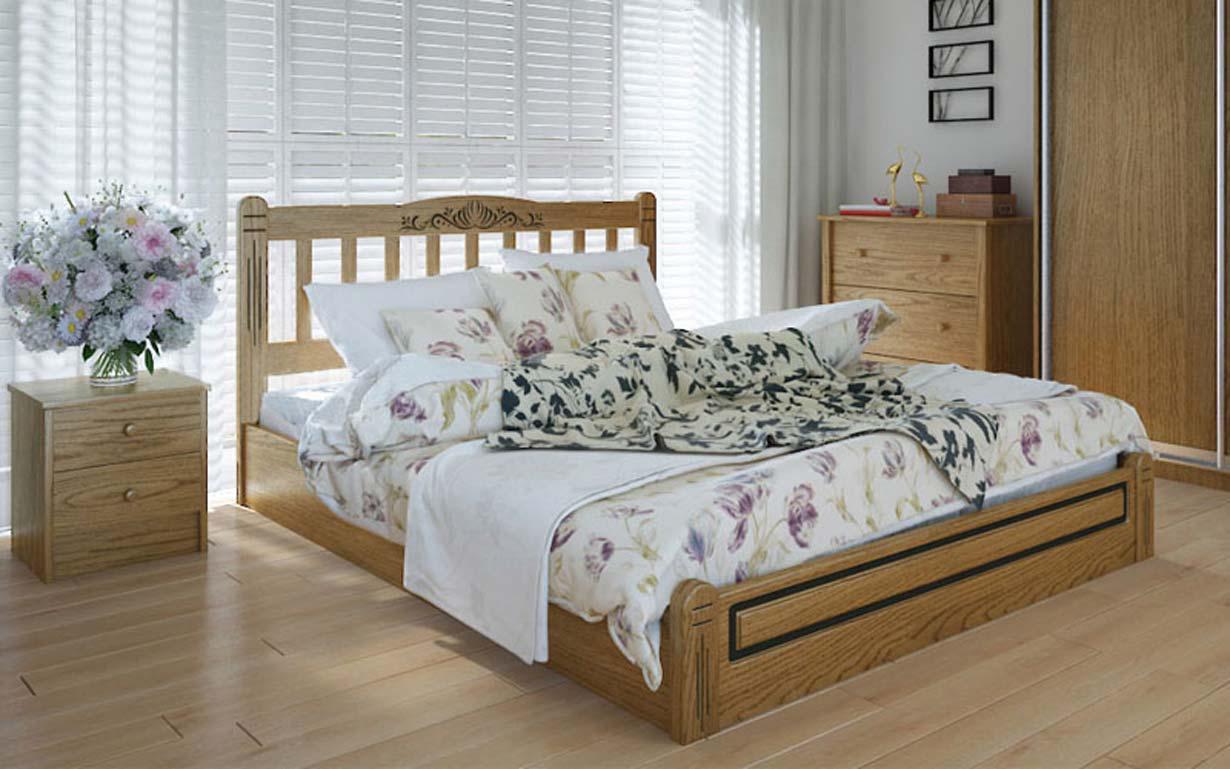 Деревянная кровать Вилидж люкс с механизмом 140х190 см ТМ Meblikoff
