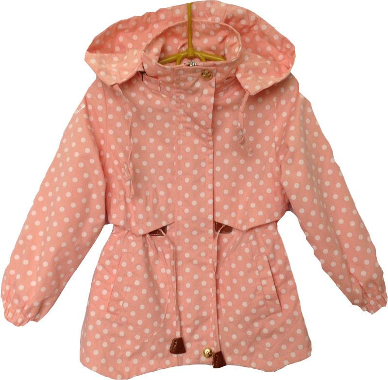 """Куртка-ветровка детская демисезонная """"Горох"""" #В1642 для девочек. 4-5-6-7-8 лет. Персиковая. Оптом."""