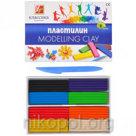 "Пластилин 8 цветов ""Луч"" ""Классика"", 160 грамм"