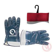 Перчатки МБС синие Intertool с манжетой крага