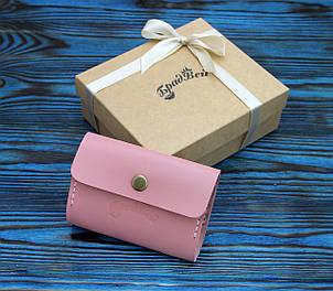Визитница из натуральной кожи (282033) - розовая, фото 2
