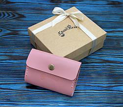 Визитница из натуральной кожи (282033) - розовая