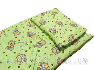 Постельный набор в детскую кроватку (3 предмета) Мишки с сердечками салатовый