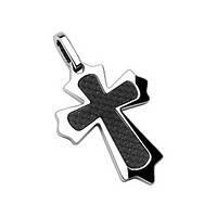 Кулон готический черный крест нержавеющая сталь и карбоновая вставка Spikes