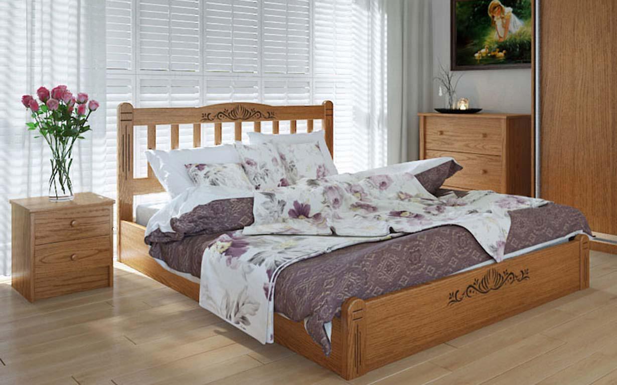 Деревянная кровать Луизиана люкс с механизмом 140х190 см ТМ Meblikoff