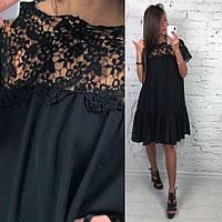 Свободное платье с гипюром