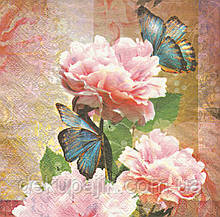 Декупажные салфетки Пионы и бабочки 7231