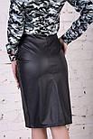 Женская модная юбка-кардандаш с разрезом из эко-кожи, фото 2
