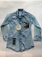 Джинсовая модная рубашка для девочек от 3 до 7 лет., фото 1