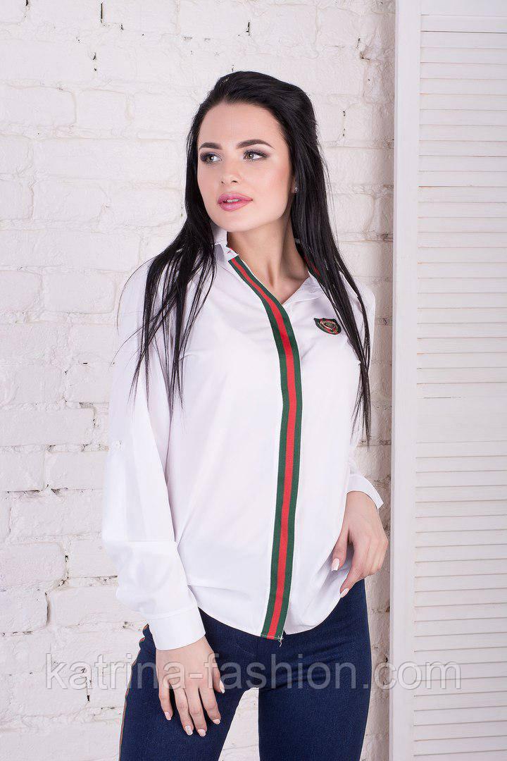 Женская белая блуза с отделкой лампас