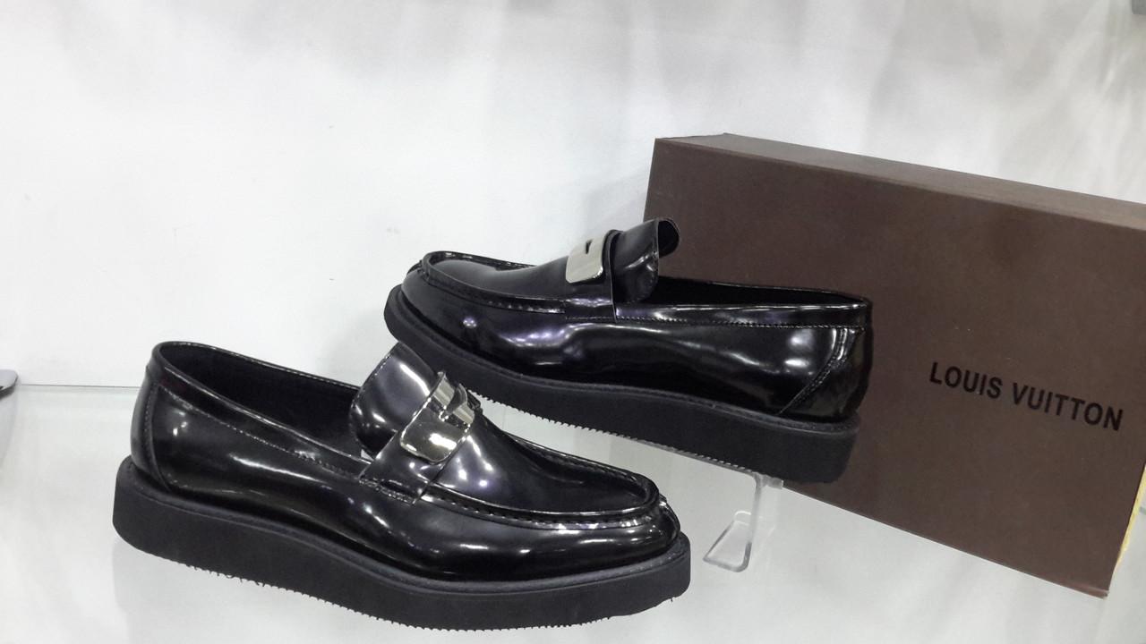 dd608deb0b21 Мужские туфли-лоферы, Louis Vuitton, черные, глянцевая кожа,40-44 ...