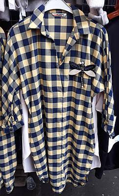 Молодежная женская рубашка туника в клетку Стрикоза