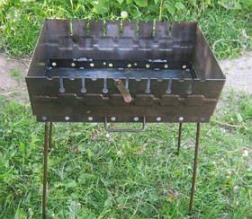 Мангал розбірний для відпочинку 2 мм ,Україна 8 шампурів