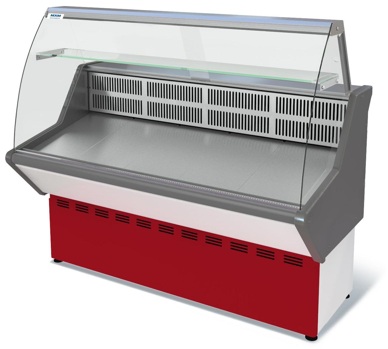 Витрина холодильная среднетемпературная МХМ ВХС-1,0 Нова (с гнутым стеклом,нержавейка)