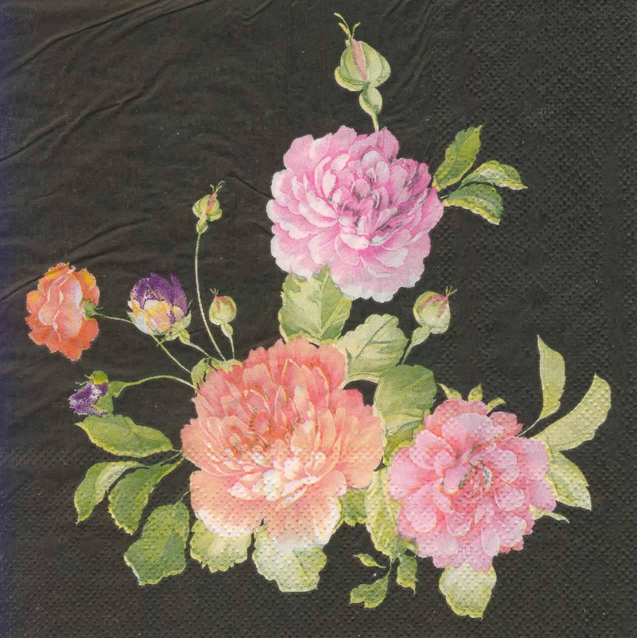Декупажные салфетки Цветы на чёрном фоне 3964
