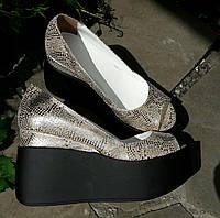 Туфли Кожа золото под змею с открытым носком , фото 1