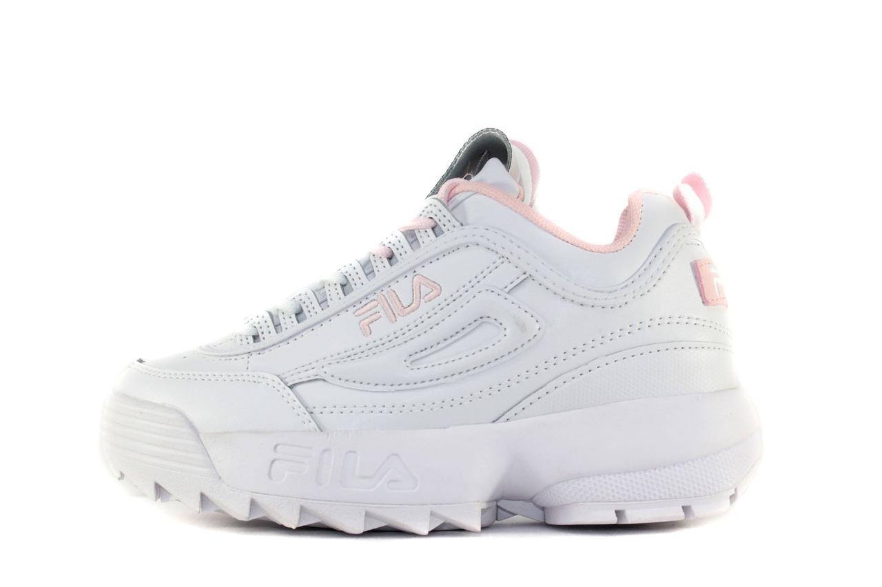 94f834f9 Женские кроссовки Fila Disruptor II (в стиле Фила Дисраптор) белые c  розовым - Мультибрендовый