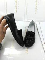 Туфли женские  Allure без каблука кожа/замша черные 0156АЛМ