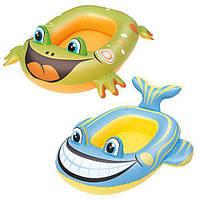 BW Плотик 34085 (36шт) надувной, 99-66см, 2вида (рыбка, лягушка)