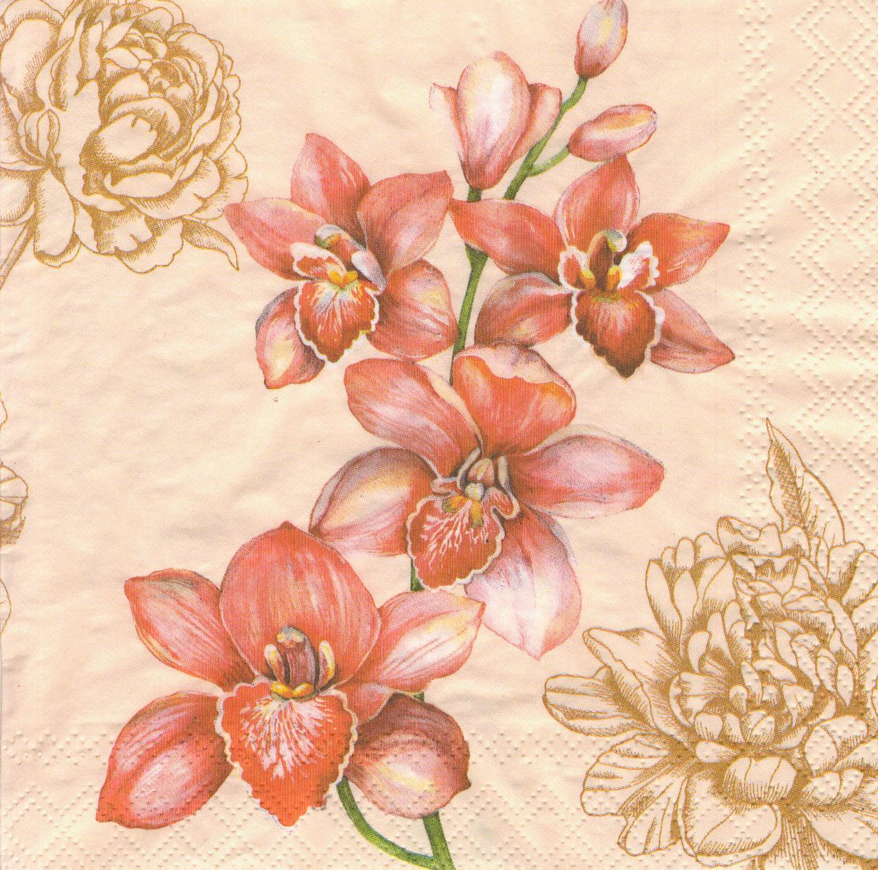 Декупажная салфетка Розовая орхидея 7241