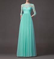 Длинное Бирюзовое Вечернее Макси Платье Свадебное Выпускное с Рукавами 3/4  SH-15091