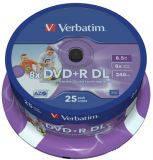Диски DVD+R 8.5GB Verbatim 43667, 25шт. шпиндель, для печати