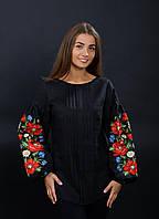 Черная женская блузка вышиванка, маки украинские, арт. 4134