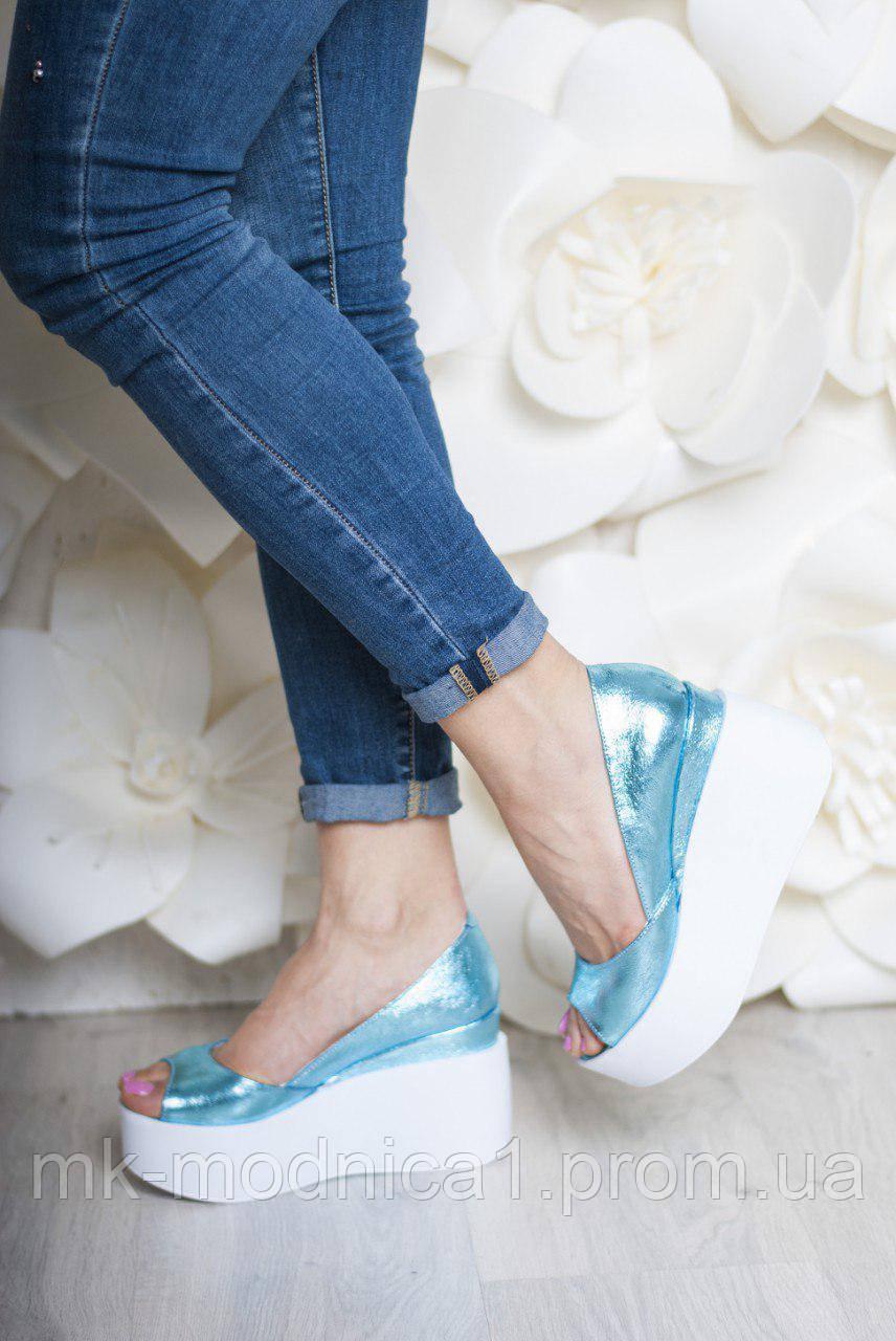 Туфли Кожа голубой металлик с открытым носком