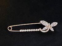 Позолоченная булавка-брошка «Сверкающая стрекоза», фото 1