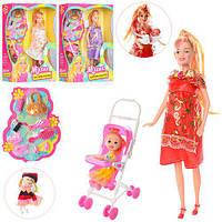 Кукла 88076-1 (60шт) беременная,с дочкой,коляска,пупс5,5см,аксессуары,3цв,в кор-ке,22-33-8,5см