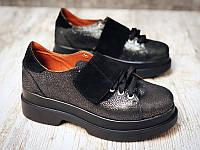 Женские туфли кожаные на высокой подошве цвета разные 0001УКМ